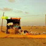 La grande plage populaire de Chennai